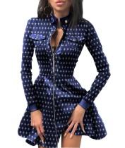 Весеннее синее винтажное платье с плиссированной юбкой в стиле пэчворк на молнии