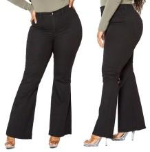 Pantalones vaqueros negros de cintura alta con parte inferior de campana y talla grande