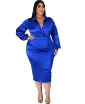 Plus Size herfst elegante blauwe Romper en rok Set