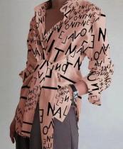 Lässige geknotete Bluse mit Herbstbriefdruck