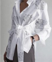 Sonbahar Mektubu Baskı Günlük Düğümlü Bluz