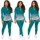 Herbst Casual Matching Gradient Shirt und Hosen Set