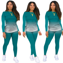秋のカジュアルマッチンググラデーションシャツとパンツセット