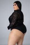 Plus Size Herbstparty Sexy Black Bodysuit und Hosen Set