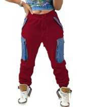 Pantalones de chándal con cordones de cintura alta de invierno con bolsillos en contraste