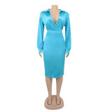 Plus Size Autumn Elegant Blue Bodysuit und Rock Set