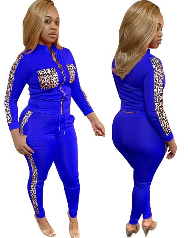 Plus Size Herbst passender Trainingsanzug mit Leoparden-Reißverschluss