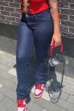 Stilvolle dunkelblaue Jeans mit hoher Taille