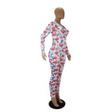 Herbst Cartoon Print Onesie Bodycon Jumpsuit