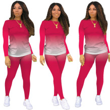 Conjunto de calça e camisa gradiente casual outono combinando