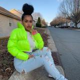 Winter Neon gepolsterte kurze Lederjacke mit Reißverschluss