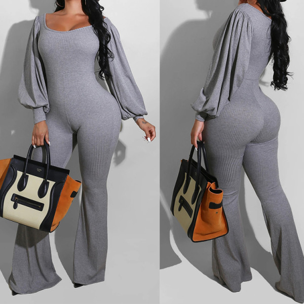 Herbst Sexy Grey Puff Sleeve Flare Jumpsuit
