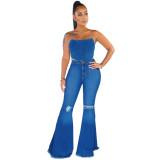 Herbstblaue Jeans mit hoher Taille