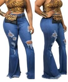 Стильные рваные джинсы большого размера с расклешенным низом и высокой талией