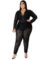 Conjunto de macacão preto e calça plus size festa de outono sexy