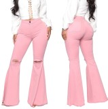 Herbst Pink High Waist Ripped Flare Jeans