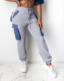 Зимние спортивные брюки с завышенной талией и контрастными карманами