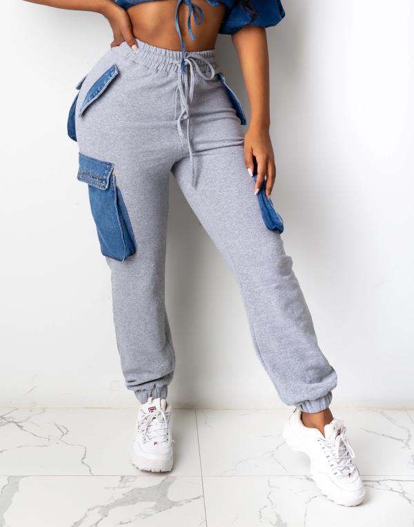 Winter High Waist Drawstrings Track Pants mit Kontrasttaschen