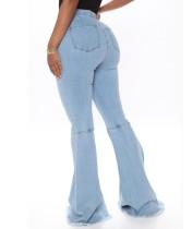 Jeans a vita alta con fondo a campana alla moda autunno