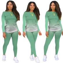 Autumn Casual Matching Gradient Shirt and Pants Set