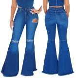 Herbst Schwarz High Waist Ripped Flare Jeans