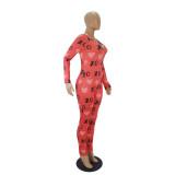 Herbstlicher Herzdruck Onesie Bodycon Jumpsuit