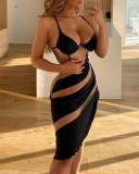 Feestelijke sexy push-up midi-jurk met contrasterende riem