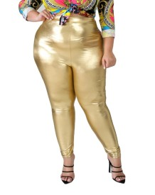 Pantaloni in pelle color oro sexy Plus Size Autumn Party