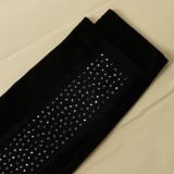 Combinaison moulante perlée noire sexy en patchwork d'automne