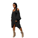 Autumn Casual Black Zip Up Hoody Kleid