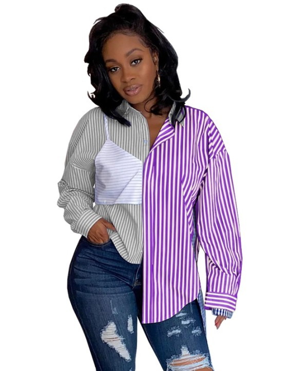Herbst Casual Contrast Stripes Bluse