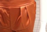 Herbst Lässige, solide, schlichte, geraffte Hose mit hoher Taille