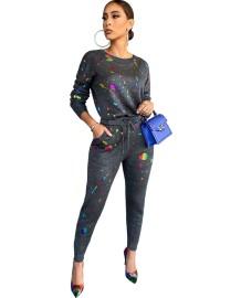 Herfst casual kleurrijke print shirt en broek set