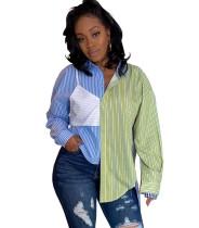 Herfst casual blouse met contrasterende strepen