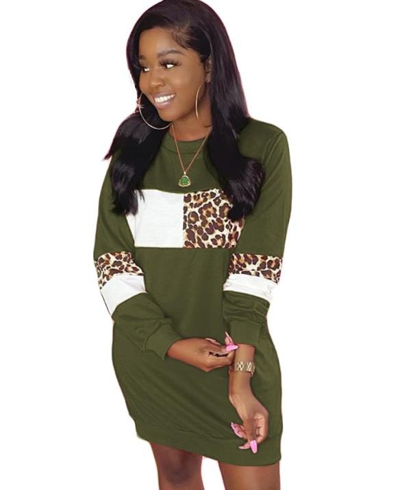 Autumn Casual Leopardenmuster Kontrast O-Neck Shirt Kleid