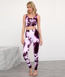 Zomersportprint yogavest en leggingset met hoge taille