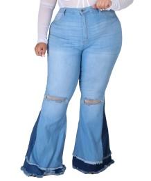 Зимние контрастные рваные расклешенные джинсы большого размера с высокой талией