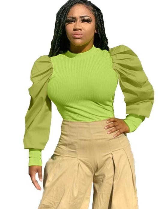 Autumn Puff Sleeve Ribbed Basic Shirt