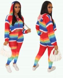 Conjunto de calça e blusa com capuz arco-íris de outono combinando