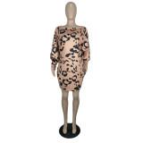 Robe courte slash imprimée léopard d'automne
