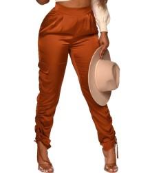 Calça de cintura alta casual casual maciça com franzido
