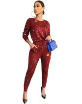 Conjunto de camisa y pantalón con estampado colorido casual de otoño