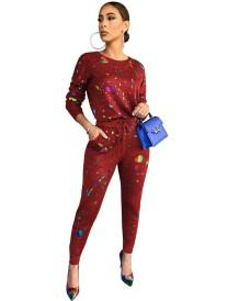 Conjunto de calças e camisa casual outono com estampa colorida