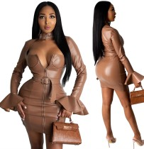 Robe moulante en cuir zippée sexy avec ceinture