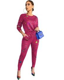 Ensemble chemise et pantalon décontractés à imprimé coloré d'automne