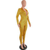 Herbst Casual Stripes V-Neck Bodycon Jumpsuit