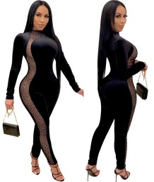 Autumn Party Black Sexy Patchwork Beaded Bodycon Jumpsuit
