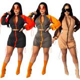 Autumn Casual Contrast Matching Zipper Crop Top und Minirock Set