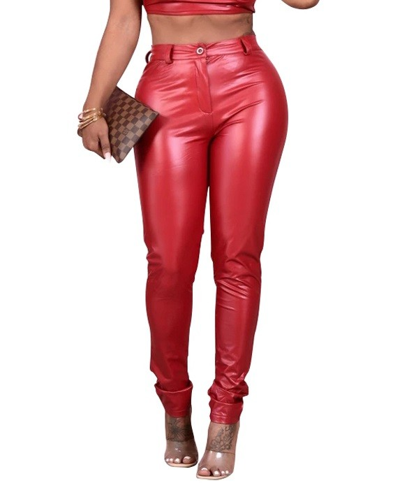 Winter Party Sexy Leder Hose mit hoher Taille