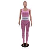 Sport Fitness ärmelloser gerippter rosa Overall